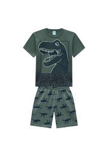 Pijama Infantil Menino Camiseta + Bermuda Kyly Verde