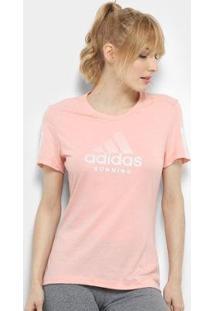 Camiseta Adidas Run It Bos Feminina - Feminino-Rosa Bebê