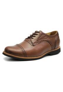 Sapato Social Oxford Veneza Click Calcados Tamanho Especial Couro Marrom