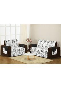 Protetor Sofa Estampado 3 E 2 Lugares Preto/ Branco Enxovais Aquarela