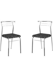 Conjunto 2 Cadeiras Tubo Cromado Floral Preto Carraro