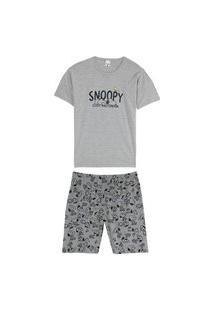 Pijama Malwee Masculino Manga Curta Snoopy Cinza