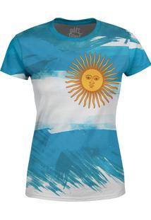 Camiseta Estampada Baby Look Over Fame Argentina Azul - Azul - Feminino - Poliã©Ster - Dafiti