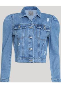 Jaqueta Jeans Feminina Cropped Manga Bufante Azul Claro