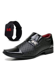 Sapato Social Com Relógio New Dubuy 829Mr Preto