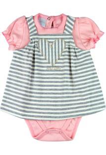 Vestido Bebê Ano Zero Cotton Listrado E Body Suedine Bordado Coração - Mescla