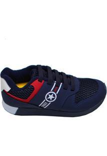 Tênis Infantil Menino Walk Klin Azul Marinho Vermelho E Branco