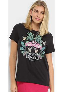 Camiseta Colcci Paraisos Tropicais Feminina - Feminino-Preto