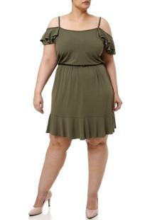 Vestido Curto Plus Size Feminino Verde