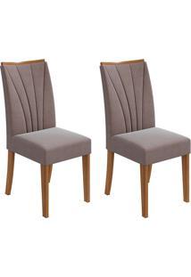 Conjunto De Cadeiras De Jantar 2 Apogeu Veludo Rovere E Chocolate