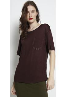 Camiseta Com Pespontos- Marrom Escuro- Forumforum