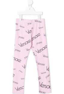 Young Versace Calça Legging Com Estampa De Logo - Rosa