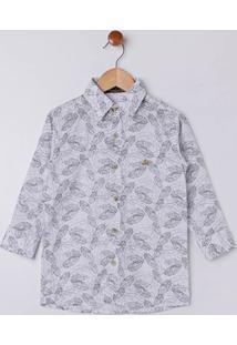Camisa Manga Longa Infantil Para Menino - Branco/Preto