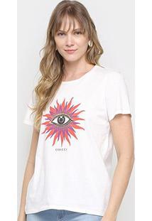 Camiseta Colcci Básica Feminina - Feminino-Off White