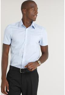 Camisa Masculina Comfort Com Bolso Manga Curta Azul Claro