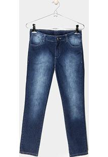 Calça Jeans Reta Infantil Cativa Estonada Poá Cintura Média Feminina - Feminino-Jeans