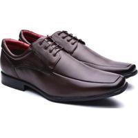0fdf78750e Sapato Social Manutt Couro Bico Quadrado Masculino - Masculino-Marrom