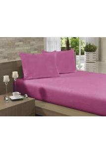 Lençol Avulso Casal 190X240 Rosa Pink Soft