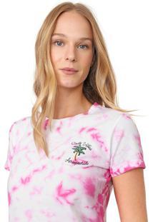 Camiseta Aeropostale Tie Dye Branca/Rosa