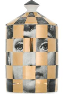 Fornasetti Checked Candle - Metálico