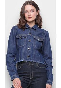 Jaqueta Jeans Influencer Cropped Manga Bufante Barra Desfiada Feminina - Feminino-Azul Escuro
