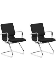 Conjunto Com 2 Cadeiras De Escritório Interlocutor Confort Fixa Preto