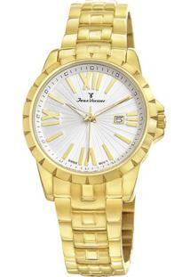 Relógio Analógico Jv01332- Dourado & Branco- Jean Vejean Vernier