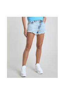 Short Jeans Feminino Boy Cintura Média Barra Desfiada Azul Claro