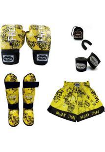 Kit Muay Thai Top Luva + Bandagem + Bucal + Caneleira + Shorts - Unissex