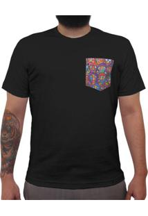 Multidão Colorida - Camiseta Clássica Com Bolso Masculina