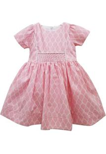 Vestido Infantil - Casinha De Abelha - 100% Algodão - Rosa - Turma Mixirica - 1