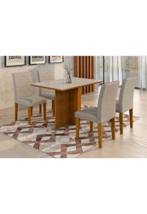 Conjunto De Mesa De Jantar Com 4 Cadeiras Ane Suede Off White E Cinza