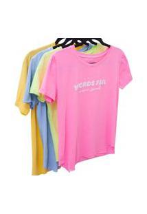 T-Shirt Feminina Malha Silque Emalto Relevo Moda Neon