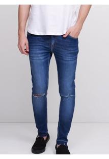 Calça Super Skinny Em Jeans Destroyed