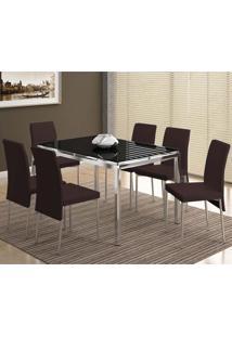 Conjunto Mesa 346 Com Vidro Preto Cromada Com 6 Cadeiras 306 Cromada/Cacau Carraro