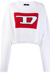 Diesel Cropped Pullover With 3D Intarsia - Branco