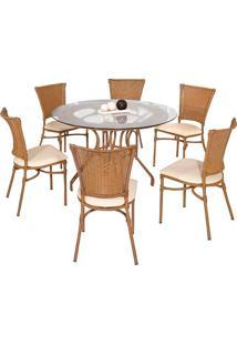 Conjunto Mesa Com 6 Cadeiras Veneza - Metal Do Brasil - Avela Envelhecido