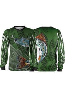 Camisa Pesca Quisty Pintado Moleque Verde Proteção Uv Dryfit Infantil/Adulto - Kanui