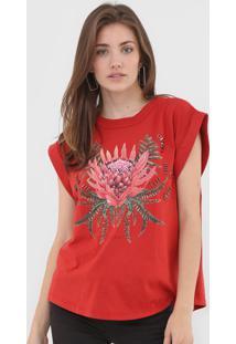 Camiseta Colcci Floral Vermelha