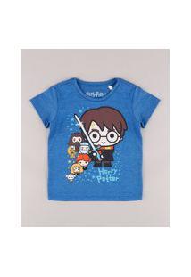 Camiseta Infantil Harry Potter Manga Curta Azul