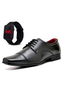 Sapato Social Com Relógio New Dubuy 807Mr Preto