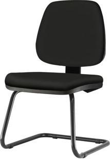 Cadeira Job Assento Crepe Base Fixa Preta - 54555 - Sun House
