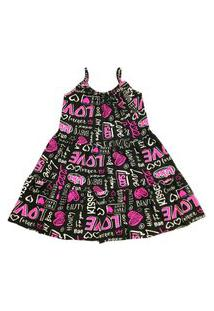 Vestido Infantil Em Viscose De Alcinha Estampado Preto