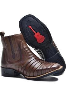 Bota Form'S Texana Couro Escamada Bico Quadrado Masculina - Masculino