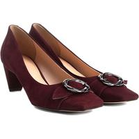 303a76a8be Scarpin Couro Shoestock Salto Baixo Fivela - Feminino-Vinho