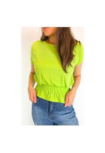 Camiseta Em Viscolycra Com Lastex Na Cintura - Verde