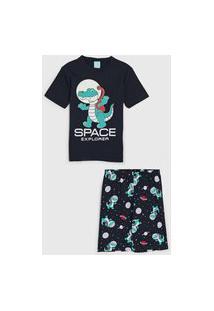 Pijama Kyly Curto Infantil Dinossauro Space Azul-Marinho