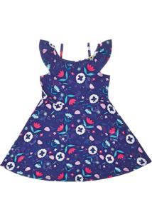 Vestido Pulla Bulla Meia Malha Azul Marinho