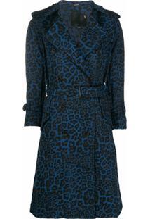 R13 Casaco Com Estampa De Leopardo E Cinto - Azul