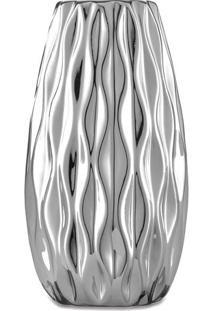 Vaso Metalizado Em Relevo- Prateado-11,5Xã˜6Cm- Mmart